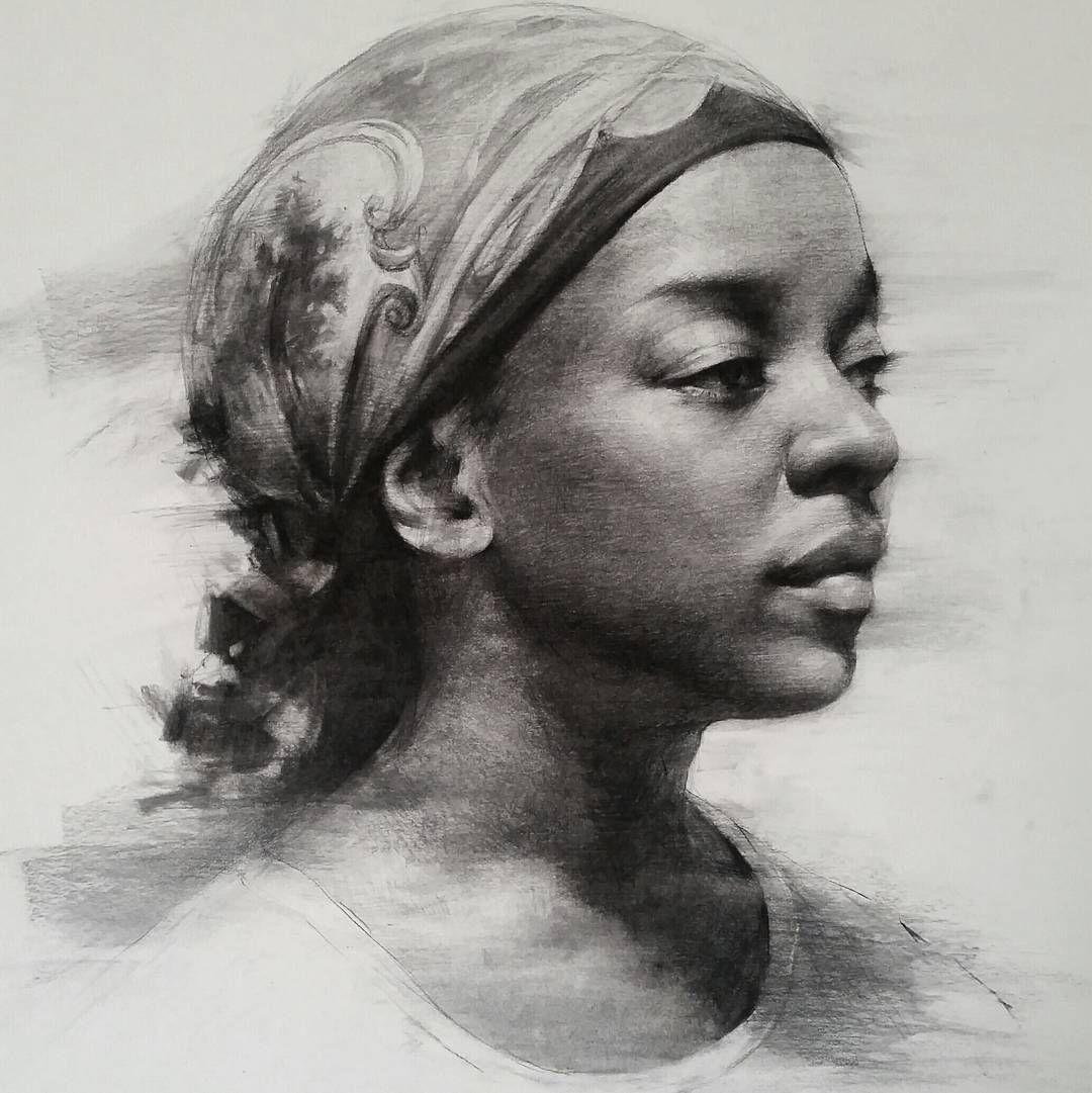 Sookyi lee portrait drawing black woman with scarf art charcoal sketch headdrawing fineart