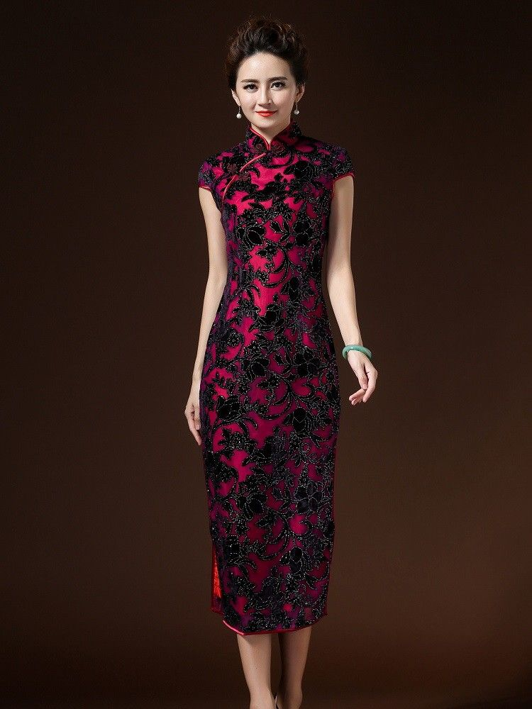 ae563b281 Shop noble black & red evening dress chinese cheongsam dress. Find latest  oriental fashion products from idreammart.com.