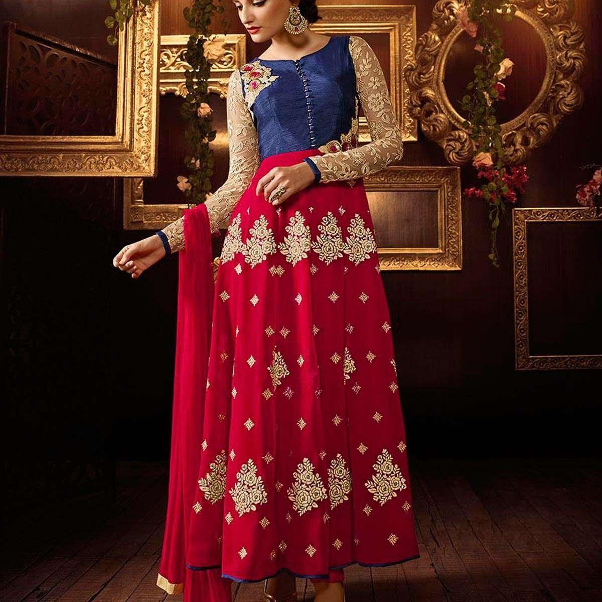 78f0d2dd4a Khadi Silk Pink Blue Long Anarkali Dress » Shoppers99 #khadi #silk  #anarkalidress #anarkalisuit #pink #blue #partywear #partydress #eid