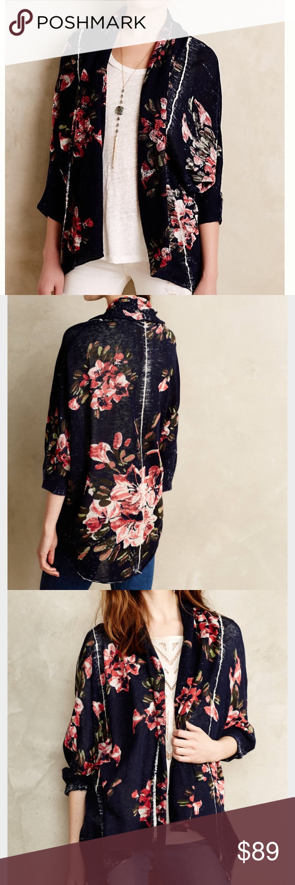 Anthro Knitted & Knotted Blooming Dolman Cardigan EUC, worn once, navy floral print, loose draped fit Anthropologie Sweaters Cardigans