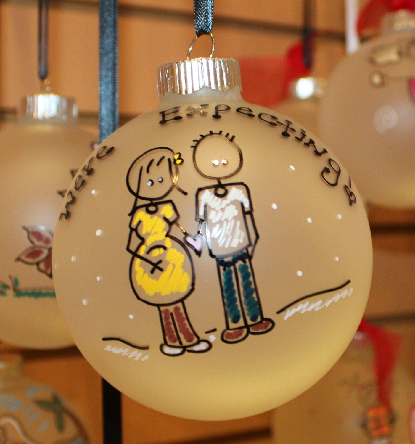 5e77616bfa5f Personalized we are EXPECTING Christmas Ornament.  18.00