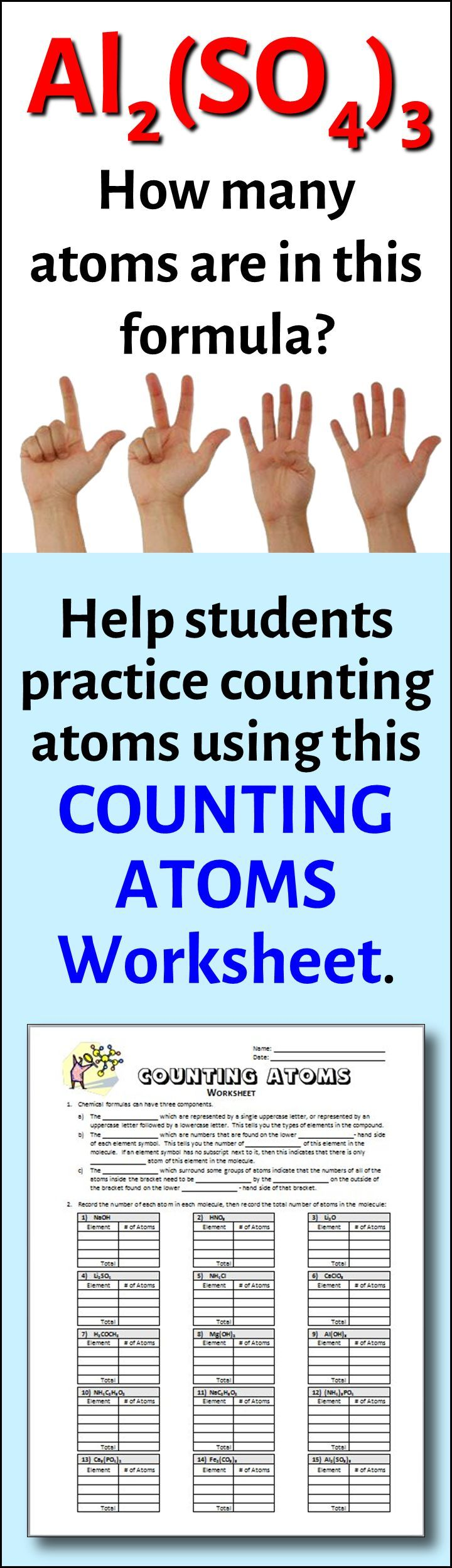worksheet Counting Atoms Worksheet Grade 9 counting atoms worksheet editable chemical formula equation and editable