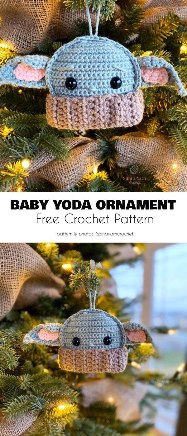 Baby Yoda Inspired Amigurumi Crochet Patterns Christmas Crochet Patterns Star Wars Crochet Crochet Christmas Ornaments