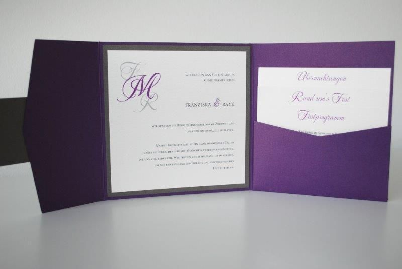 pocket fold einladungskarte viola von kreative papeterie. Black Bedroom Furniture Sets. Home Design Ideas