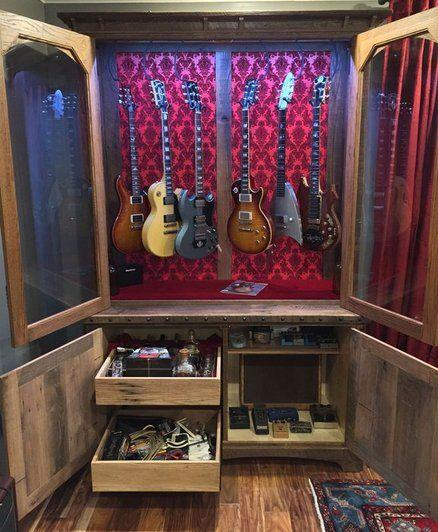 Oak Barn Wood Guitar Display Cabinets