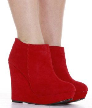 86edf87805c57 Red Wedge Boots (Amazon) | For my feet | Shoes, Boots, Wedge boots