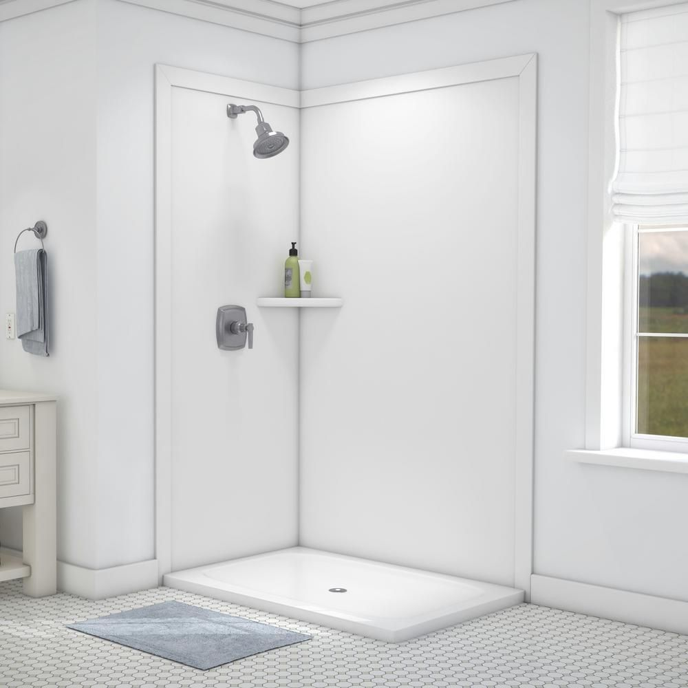 Flexstone Elegance 36 In X 48 In X 80 In 7 Piece Easy Up Adhesive Corner Shower Wall Surround In White Shower Walls Surrounds Corner Shower Shower Wall