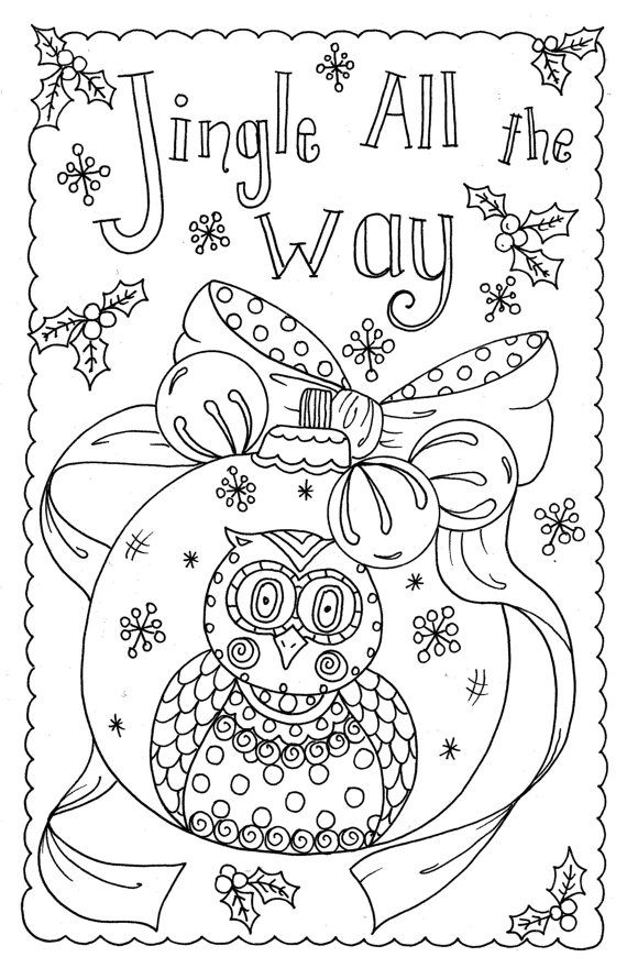4 Cards To Color Owl Christmas Cards You Be The Artist Color Etsy Owl Christmas Card Coloring Pages Christmas Coloring Books