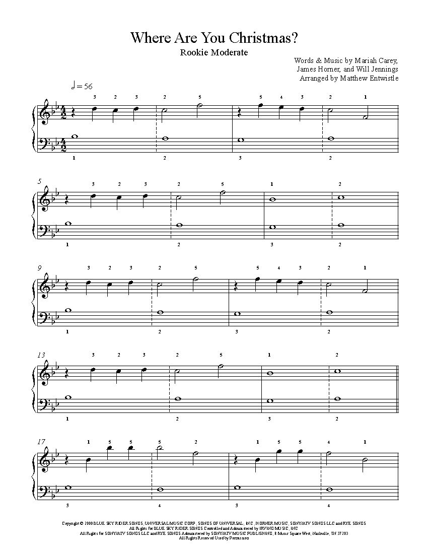 Where Are You Christmas By Faith Hill Piano Sheet Music Rookie