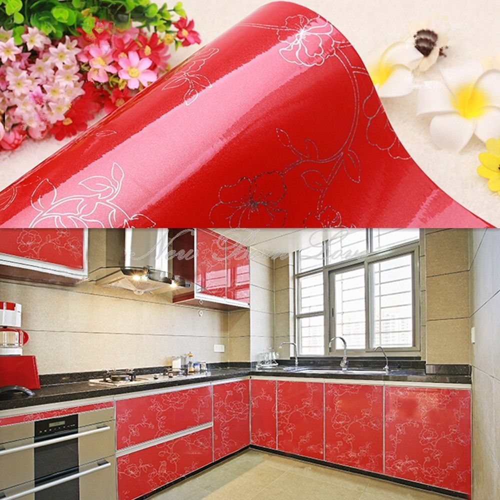 YAZI Red Peony Vinyl Kitchen Cupboard Oil Proof Contact Cover ...