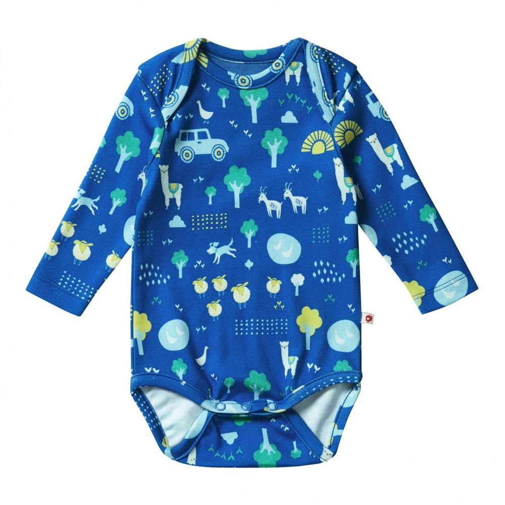Piccalilly Kids Organic Cotton Top Long Sleeve Farm Design