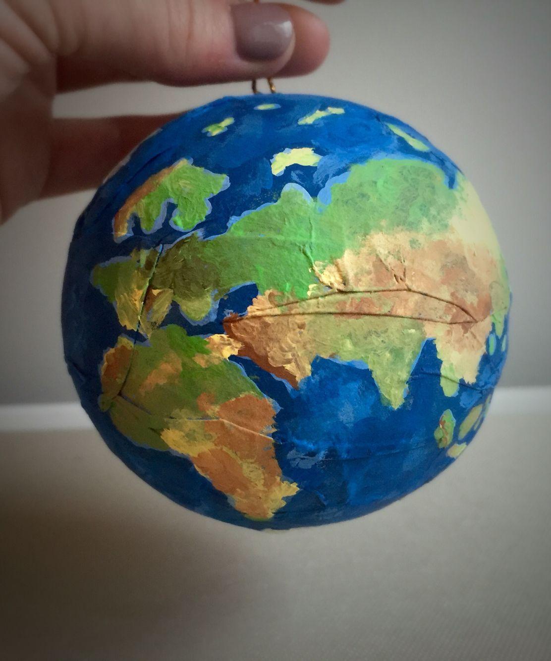 DIY Christmas tree ornament. Hand painted planet earth ...