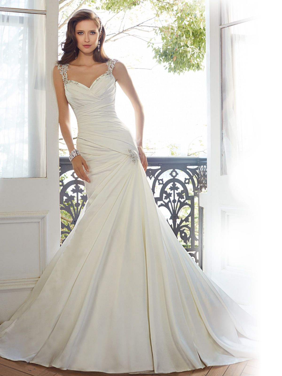 Fit and flare wedding dress with cap sleeves bodice flow and style y11562 mynah is a beautiful fit and flare wedding dress with cap sleeves junglespirit Image collections