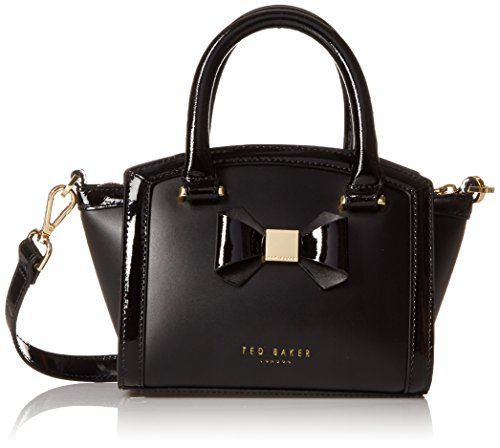 be3d3fa6de5 Ted Baker Deliyah Mini Curved Top With Bow Satchel Shoulder Bag, Black, One  Size