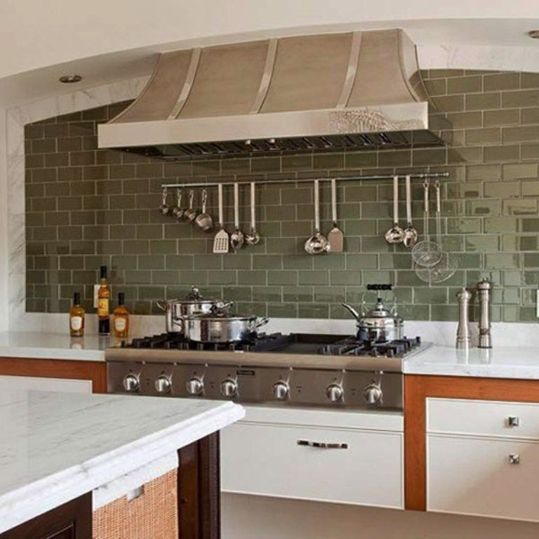 Kitchen With Olive Green Subway Tiles