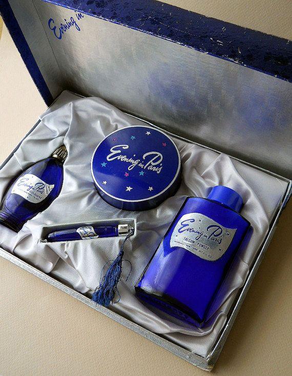 VINTAGE PERFUME BLUE WALTZ GIFT SET IN