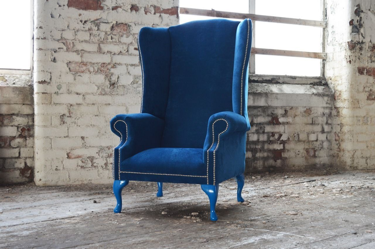 MODERN HANDMADE EXTRA HIGH BACK CHESTERFIELD WING CHAIR. THE CHAIR ...