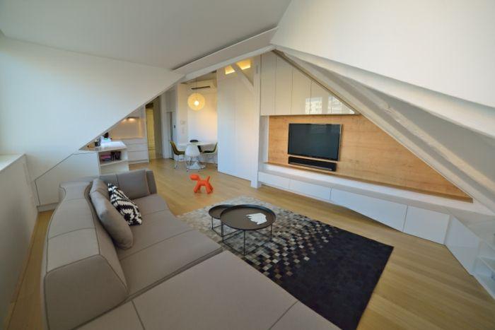 Einrichtungsideen Weiße Einrichtung Dachwohnung Einrichten