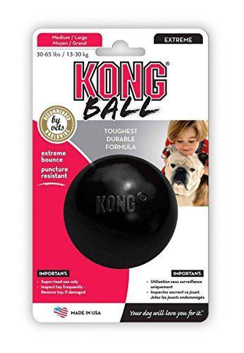Kong Dog Durable Rubber Ball Toy 3 Medium Large Black Extreme