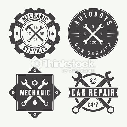 Vintage Mechanic Label Emblem And Logo Vector Illustration Mechanic Logo Design Mechanics Logo Vintage Mechanics