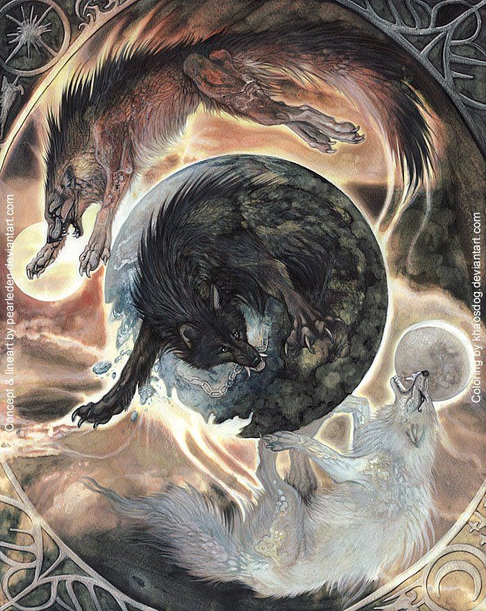 Image of Hati and Skoll chasing Sun and Moon Norse myth