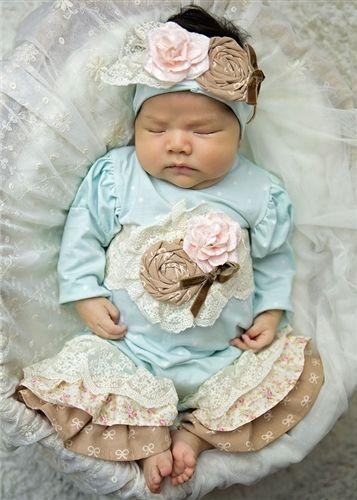 gown, hat, blkt Haute Baby Boutique Newborn Girls Take-me-home Set Chic Petit