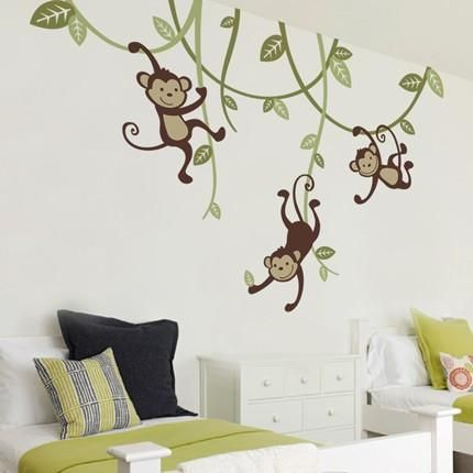 3 Monkeys Swinging From Vines Wall Decal Nursery Wall Decals