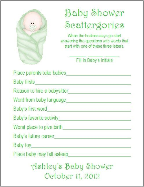 30625cb2ed5bd 24 Personalized SCATTERGORIES Baby Shower Game by Print4U on Etsy ...