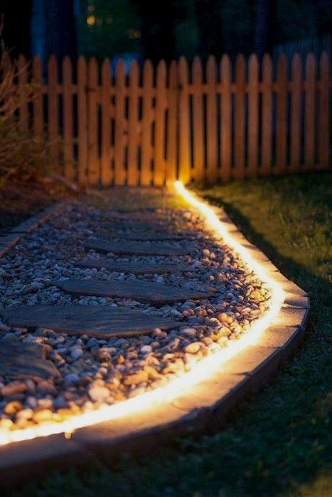 Attractive Charming Landscape Lighting Ideas 22 Pics Interiordesignshome.com Brighten  Gardens And Walkways Using Rope Light As Pathway Lights
