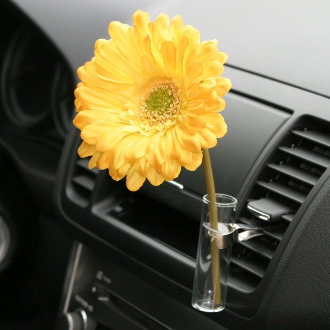 Vw Bug Flower Vase Yellow Daisy Auto Vase For Any Car Car Vase Cute Car Accessories Yellow Car