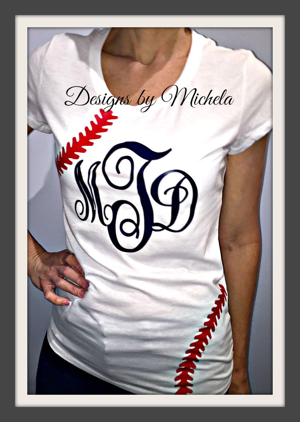 Baseball T Shirt Designs Ideas 24 shirt miniumum White Monogrammed Short Sleeve Baseball Ladies Tshirt Gf068