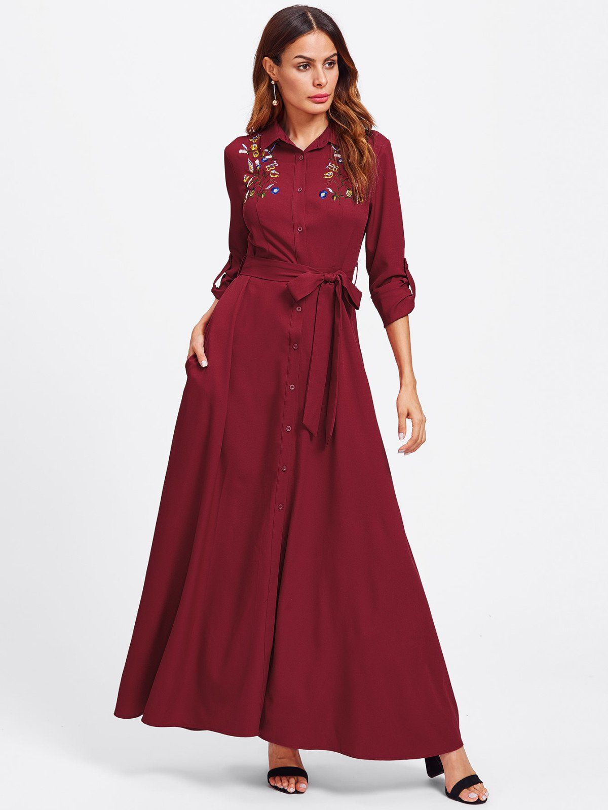Embroidered yoke roll sleeve belted shirt dress belted shirt dress
