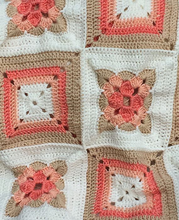 Coral Granny Square Patchwork Crochet Afghan Gehaakte Oma