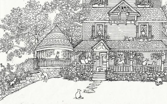 Cat House Coloring Pages Pics