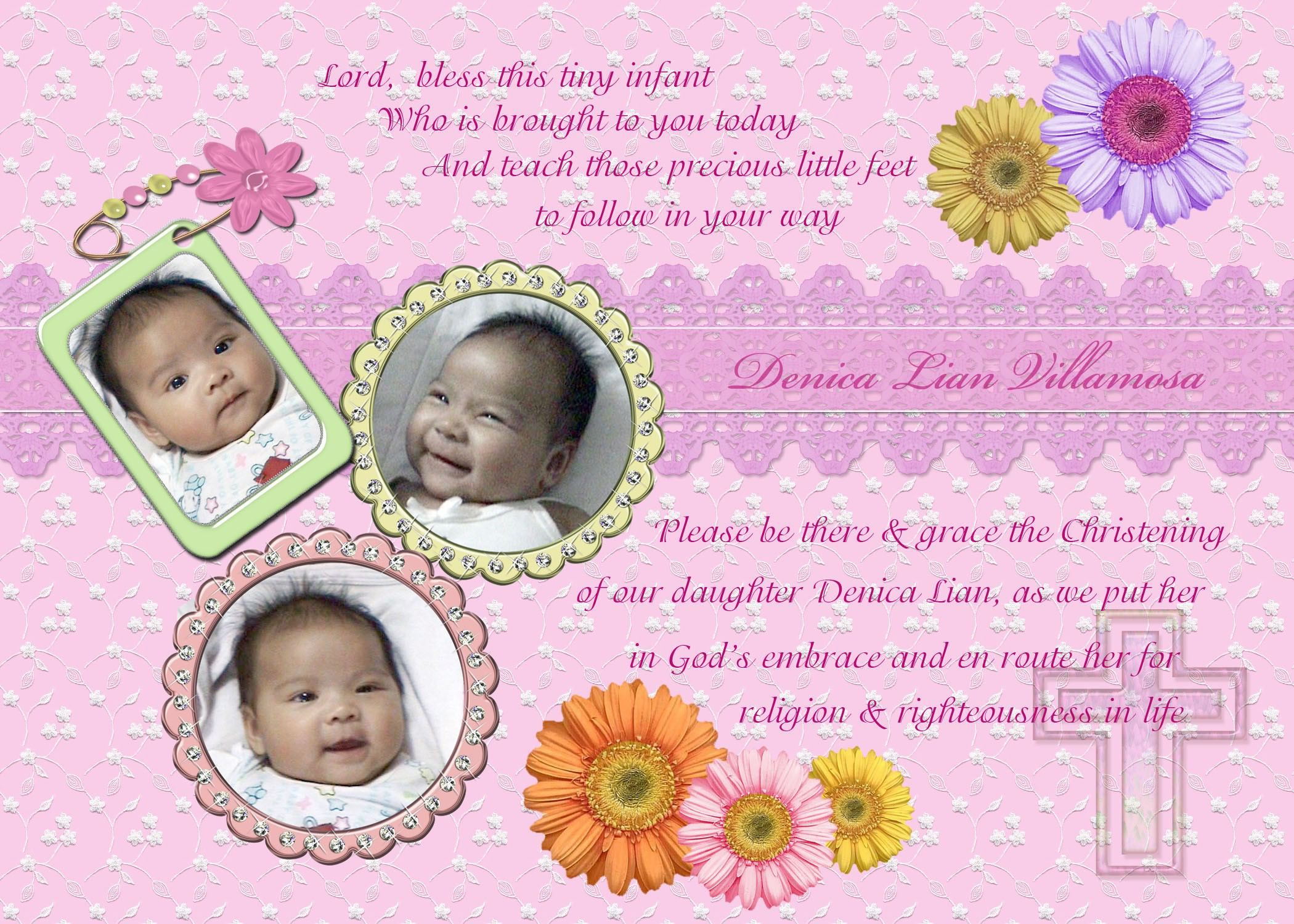 Christening Invitation For Baby Girl Christening
