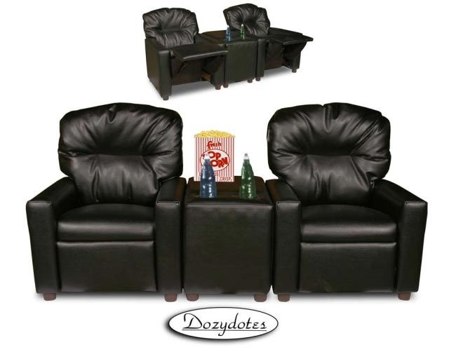 Ordinaire Black Leather Child Recliner Chair Theater Seating