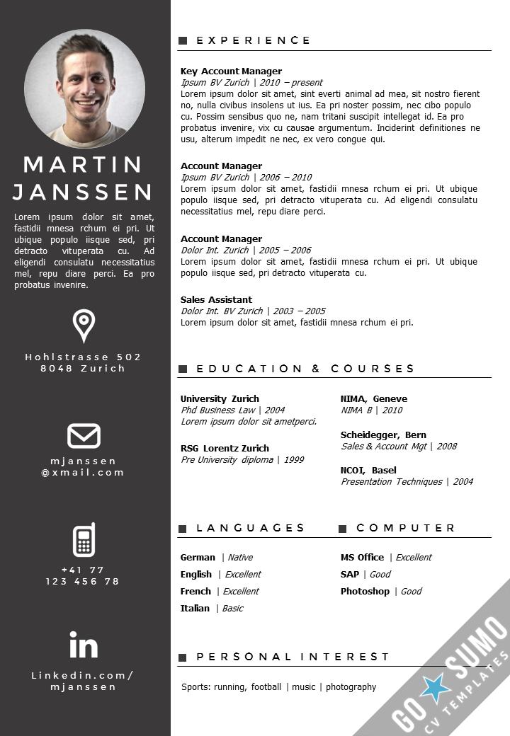 Cv Template Zurich Cv Kreatif Desain Resume Desain Cv