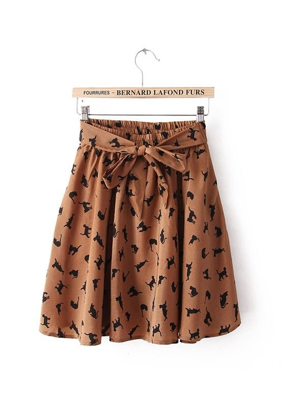 Coffee Cat Bowknot Elastic Mid Waist Chiffon Skirt!