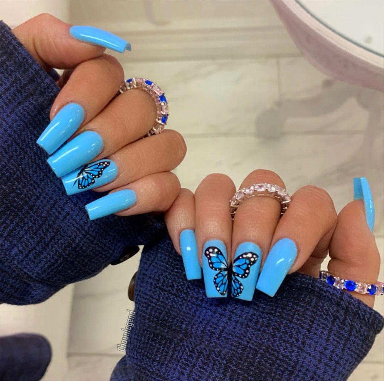 Pinterest Cluelessangel Blue Acrylic Nails Summer Acrylic Nails Light Blue Nails