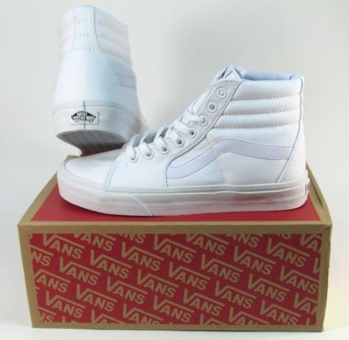 a5c1519c24507f NEW-VANS-SK8-HI-CANVAS-TRUE-WHITE -HIGH-TOP-LACE-UP-SKATEBOARDING-SHOE-OLD-SKOOL