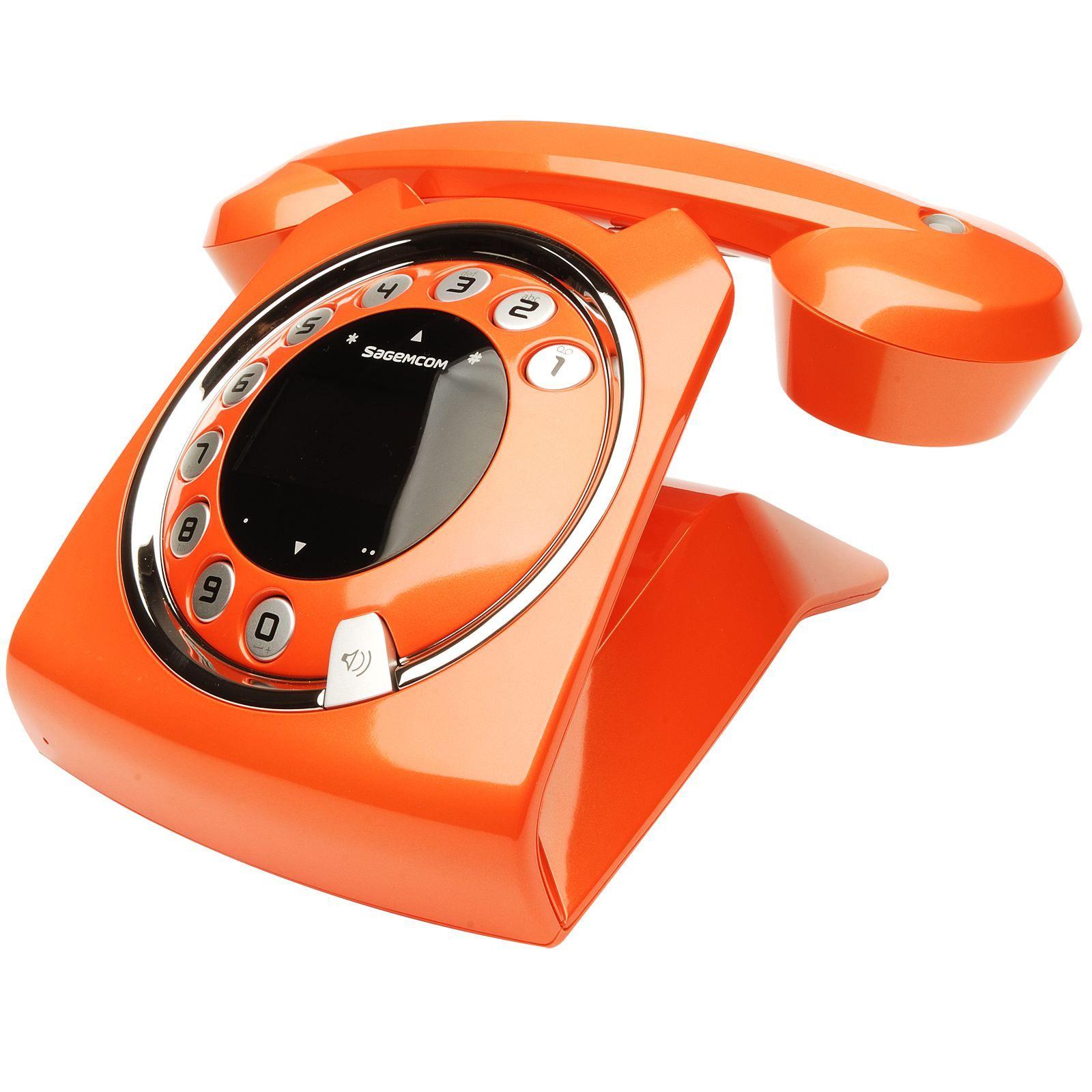 sagemcom sixty vintage style cordless phone in orange orange pinterest. Black Bedroom Furniture Sets. Home Design Ideas