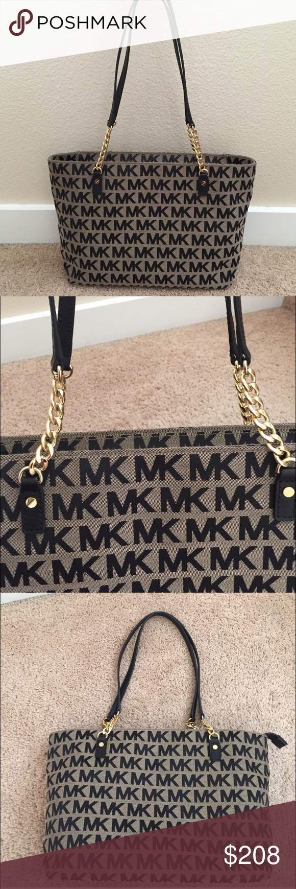 697c00b307b1 Michael Kors Tote The bag is a light tan brown color with black letters.  There is a zipper at the top which I love. The bag is roomy and has a few  zippers ...