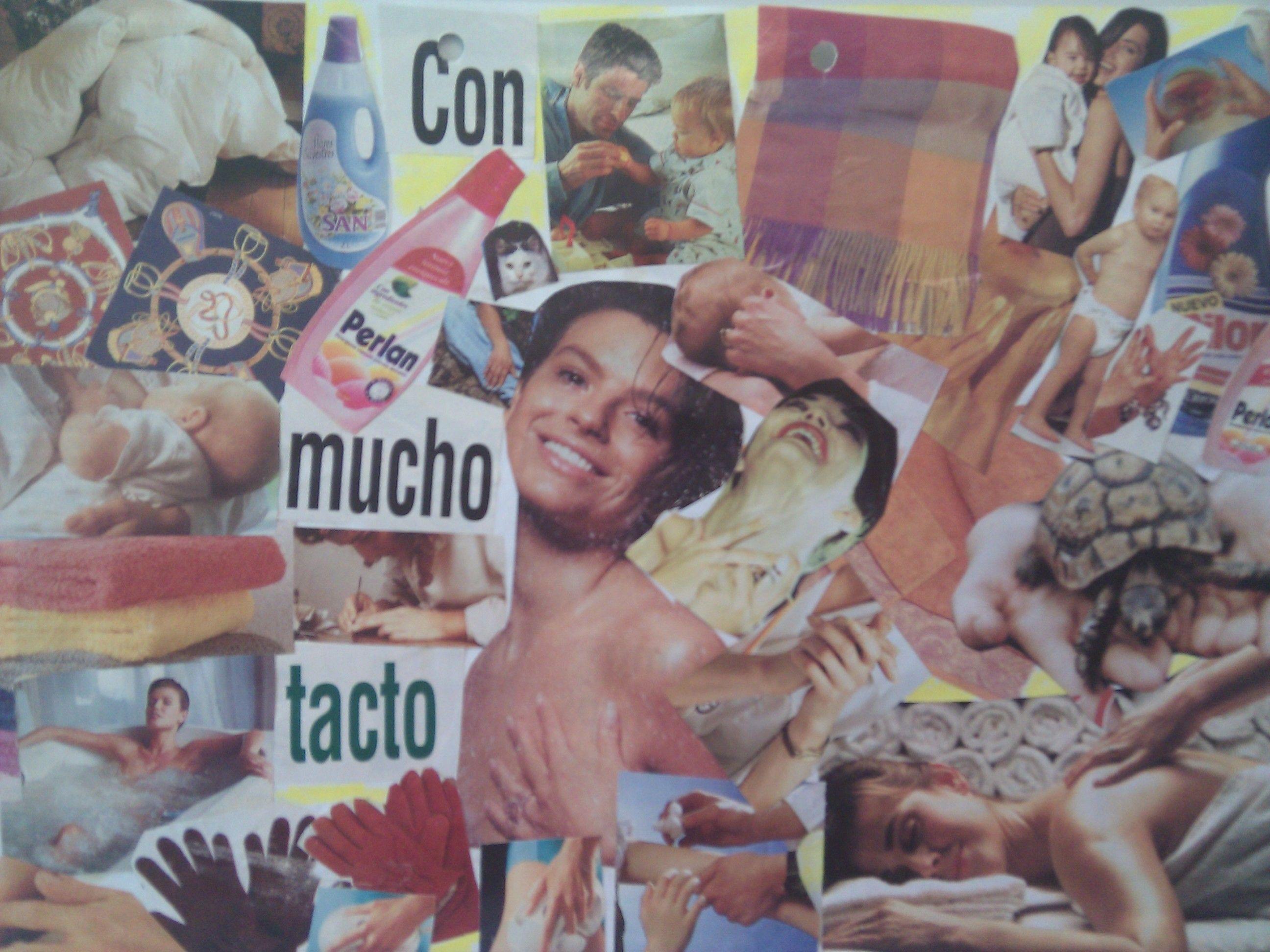 Collage sobre el sentido del tacto. Realizado por alumnos de 5º.