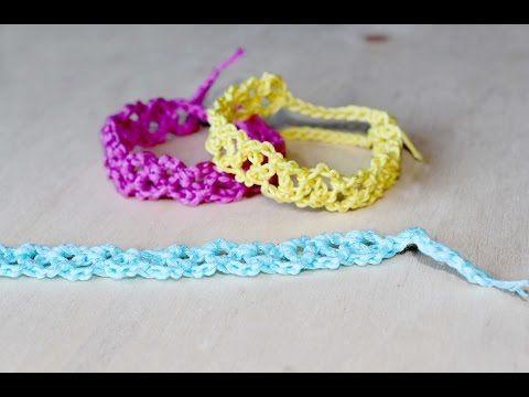 Tutorial 8,Senza Musica * Bracciali Farfalle * Simil , Cruciani Uncinetto .  Crochet Bracelets , YouTube