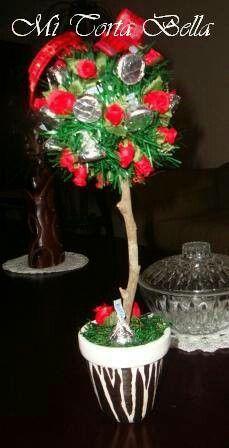 Arbolito con chocolates Kisses y maceta pintada