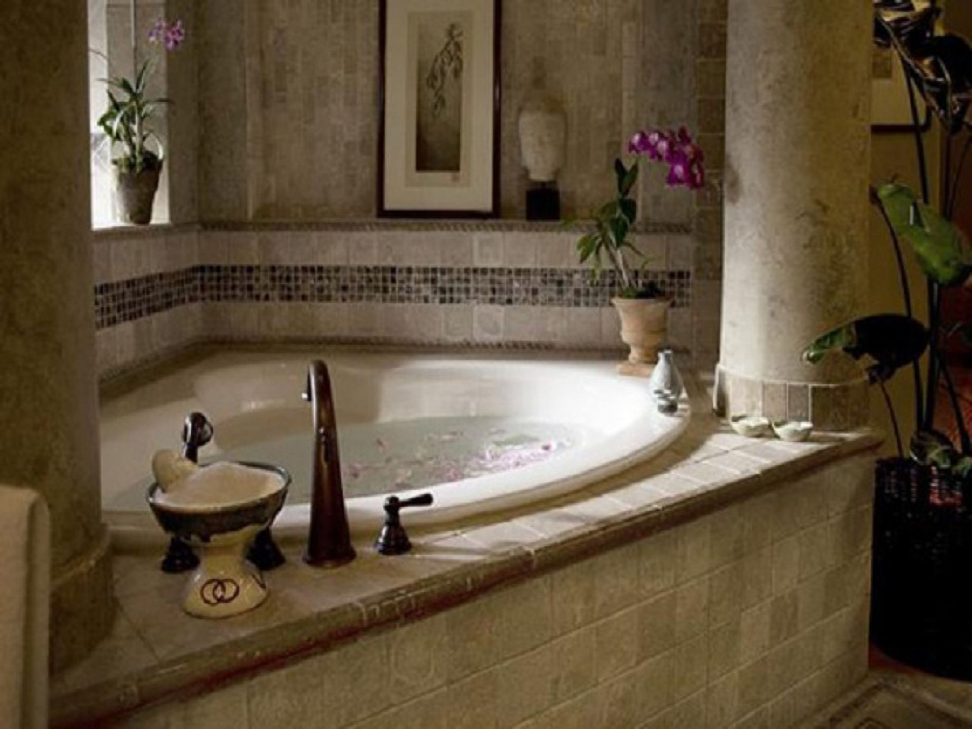 Bathroom romantic candice olson jacuzzi corner bathtub designs with bronze curve faucet and Romantic bathroom design ideas