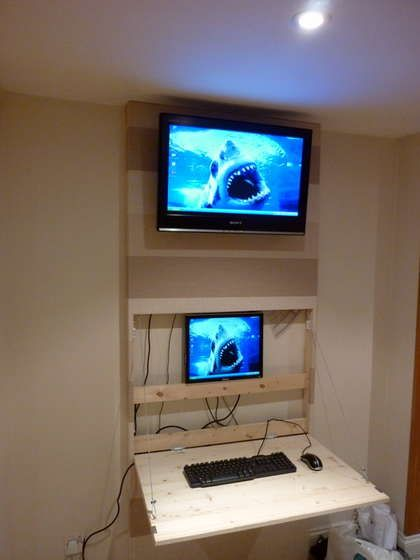 The Tv Wall Mount Desk Hidden Pc Wall Mounted Tv Tv Wall Wall Mounted Desk