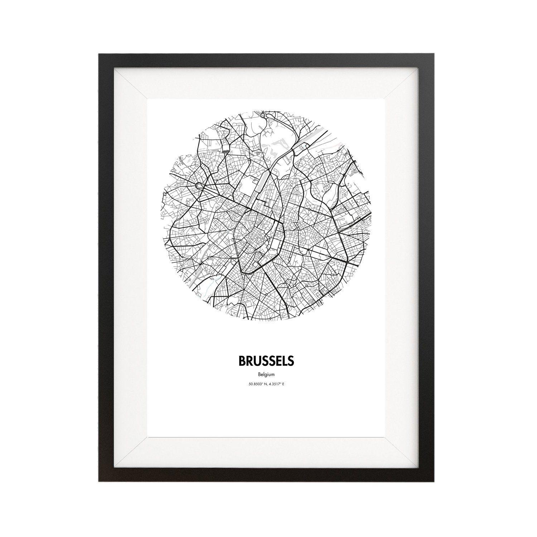 Cartel Bruselas B/élgica Minimalista Mapa regalo decoraci/ón City Map