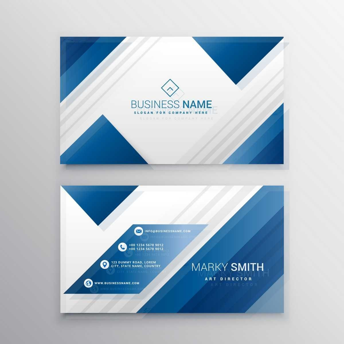 Geometric Business Card With Blue Shapes - FREE | Полиграфия ...