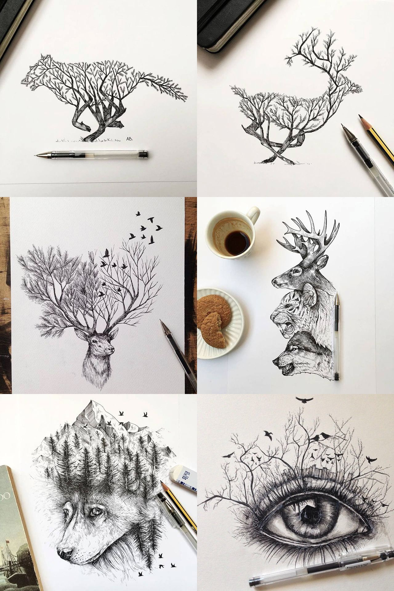 Beautiful drawings by alfred basha they look a little similar to my illustrations actually very similar concept too mixing the two forms of nature